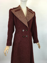 Load image into Gallery viewer, Original 1940's STUNNING Deep Wine Woollen Coat - With An Impeccable 40's Silhouette & Detailing