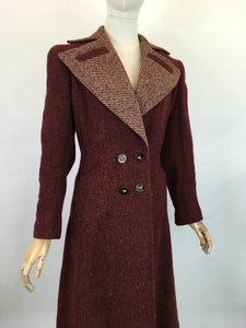 Original 1940's STUNNING Deep Wine Woollen Coat - With An Impeccable 40's Silhouette & Detailing