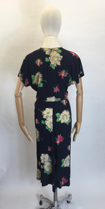 Original 1940's Stunning Floral Rayon Dress - Darling Whimsical Colour Pallet
