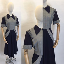 Load image into Gallery viewer, Original 1940's Stunning Navy & Check Dress - Killer Collar & Button Detailing