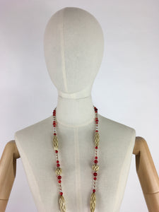 Original 1930s Long Line Necklace - In a Contrast Glass Bead and Celluloid in Reds, Clear and Soft Cream