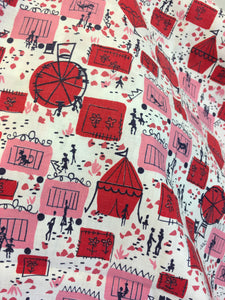 Original 1950s Novelty Print Cotton Dress Fabric - Featuring Marquees, Ferris Wheels, Acrobats, Tigers, Monkeys and More