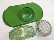 Load image into Gallery viewer, Original 1940's ' Hellex Made In England ' Vanity Set - In Art Deco Green