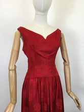 Load image into Gallery viewer, Original Late 1940's Evening Dress - In A Lipstick Red Silk Floral Brocade