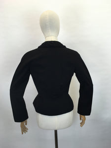Original Late 1940's early 1950's ' Hattie Carnegie' Black Jacket - Creating the Iconic New Look Silhouette