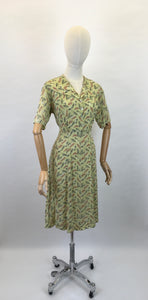 Original 1940s Day Dress - In a Lovely Chartreuse Crepe with Wheat / Leaf Print In Charcoal, Rust and White