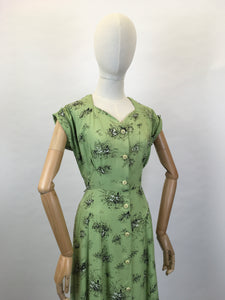 Original Late 1940's ' St. Michael' Cotton Day Dress - In a Beautiful Green and Black Stencilled Floral Print