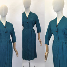 Load image into Gallery viewer, Original Early 1950's Fabulous Day Dress - In A Lovely Deep Teal Dogtooth Cotton