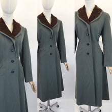 Load image into Gallery viewer, Original 1940s Duck Egg Wool Princess Coat with Fur Trim - Stunning 40's Silhouette