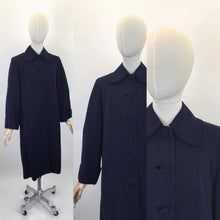 Load image into Gallery viewer, Original 1940's Navy Gabardine Coat - A Lovely 40's Silhouette with Beautiful Details