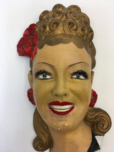 Load image into Gallery viewer, Original 1950's Ladies Head Wall Mask - Great For A Vintage Interior