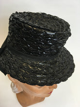 Load image into Gallery viewer, Original 1940's Black American Topper Hat - Fabulous Iconic Shape With Grosgrain Bow