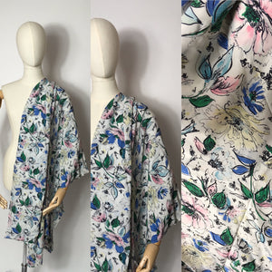 Original 1940's Semi Sheer Floral Rayon - In a Beautiful Summer Colour Pallet - 3.5m