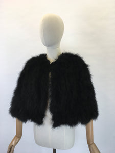 Original 1930s Black Marabou Feather Capelet - Made By ' Springfield Made In England '