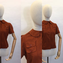Load image into Gallery viewer, Original 1940's Rust Blouse - Featuring Amazing Pocket Detailing & Collar