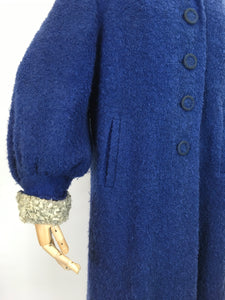 Original 1940's Amazing Boucle Wool Coat with Astrakhan Trim - In a Royal Blue and Soft Grey
