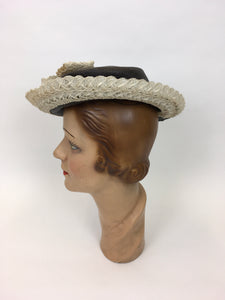 Original 1940's Brown Grosgrain Topper Hat - With a Fabulous Cream Raffia Trim and Bow Detailing