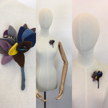 Load image into Gallery viewer, Original 1940s Felt Floral Buttonhole Corsage - In An Autumnal Colour Pallet