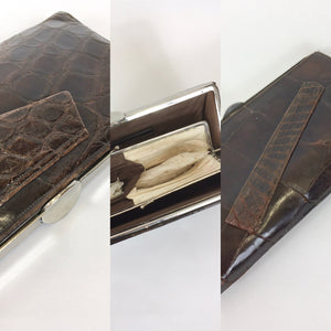 Original 1930's Deco Crocodile Clutch Handbag - In A Warm Brown with Chrome Detailing