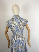 Load image into Gallery viewer, Original late 1940s Floral Dress - In A Crisp Cotton in Soft Greys, Charcoals and Blues