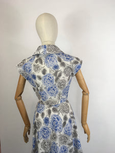 Original late 1940s Floral Dress - In A Crisp Cotton in Soft Greys, Charcoals and Blues