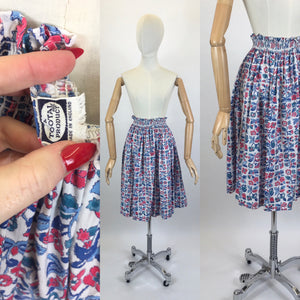 Original 1950's Floral Printed Cotton Skirt - Made by ' Tootal'