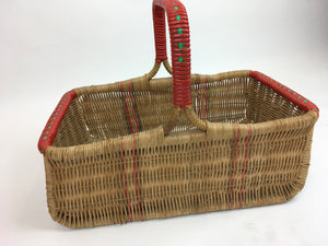 Original 1940's Wicker Basket - In Naturals, Reds and Greens