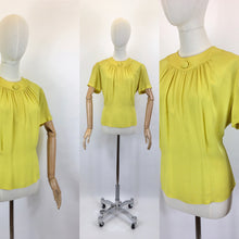 Load image into Gallery viewer, Original 1940's Stunning Chartreuse Button Back Blouse - By ' Judy Ann ' American Label