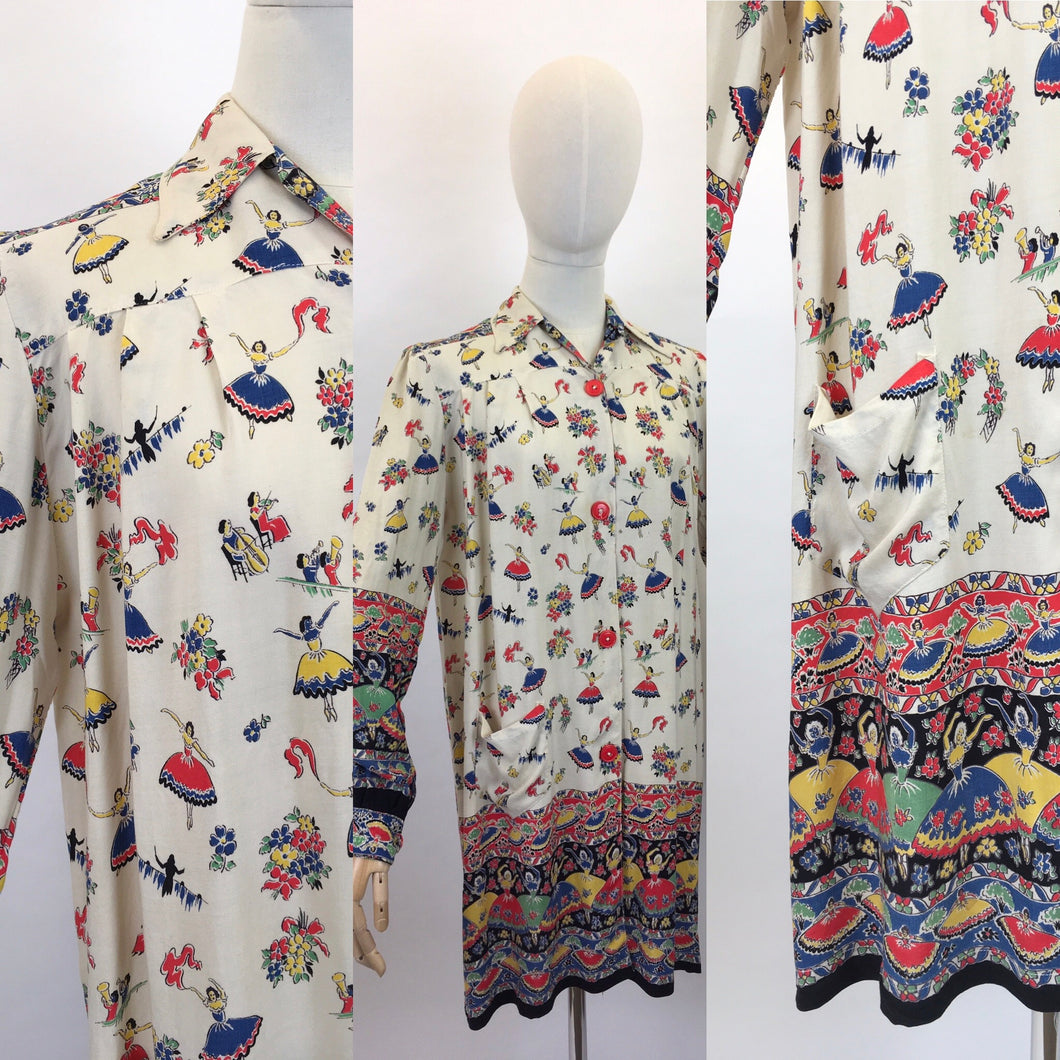 Original 1940s CC41 St. Michael Novelty Print Smock - In Fabulous Dancer Print in Bright Primary Colours