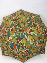 Load image into Gallery viewer, Original 1930s Sun Parasol in a Stunning Floral and Fruit Cotton - In Deco Oranges, Greens, Chartreuse and Teal