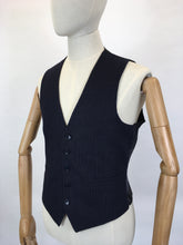 Load image into Gallery viewer, RESERVED DO NOT BUY - Original Gents Pinstripe Wool Waistcoat - With Button Front, Pockets & Backstrap Fastening