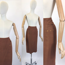 Load image into Gallery viewer, Original 1940s Pencil Skirt in a Heavyweight Linen - In A Lovely Warm Rust Brown With Arrow Detailing