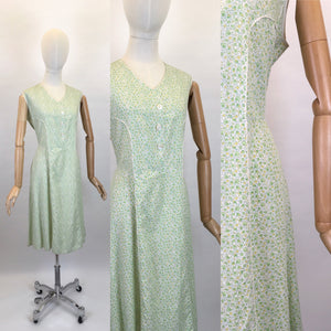 Original 1930s Cotton Day Dress - In a Lovely Colour Pallet of Soft greens, Buttercup Yellows and White