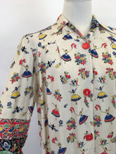 Load image into Gallery viewer, Original 1940s CC41 St. Michael Novelty Print Smock - In Fabulous Dancer Print in Bright Primary Colours