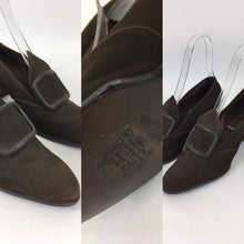 Load image into Gallery viewer, Original 1940's Brown Suede Shoes - Made By ' Lotus ' A UK 5 / 5 1/2