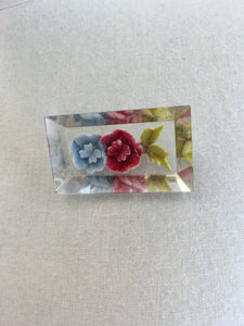 Original 1940's Floral Reverse Carved Lucite Brooch - In A Red And Pale Blue with Green Leaves