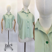 Load image into Gallery viewer, Original 1950's Green & White Striped Blouse - By ' Em Cooper ' Label
