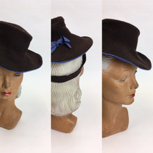 Load image into Gallery viewer, Original 1940's Brown Felt Topper Hat - Adorned With A Powder Blue Bow