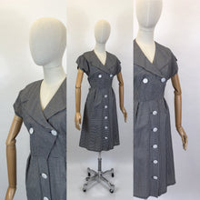 Load image into Gallery viewer, Original 1950's Fabulous Cotton Day Dress - In A Black And White Gingham Check