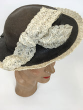 Load image into Gallery viewer, Original 1940's Brown Grosgrain Topper Hat - With a Fabulous Cream Raffia Trim and Bow Detailing
