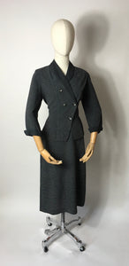 Original 1940's Slate Grey Lightweight Suit - A lovely Asymmetric Front Shape Detailing