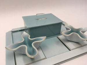 Original 1930s Lucite Vanity Set - In An Exquisite Pale Duck Egg Blue