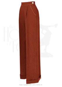House Of Foxy 1940's Hepburn Pleated Trousers in Rust
