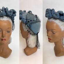Load image into Gallery viewer, Original 1940's Powder Blue American Hat - Stunning Halo Shape Front With Shaped Felt