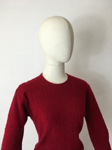 Original 1940's Knitted Dress - In a Beautiful Raspberry Red Colour