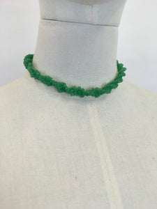 Original 1940's Telephone Wire Necklace ' Scoobie' - In a Grassy Green