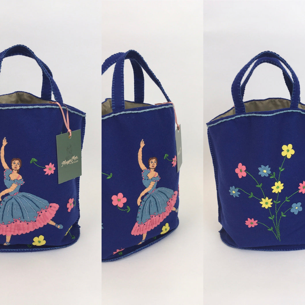 Original Late 1940s Early 1950's Felt Handbag - ' Make do and Mend' era Featuring a Ballerina and Floral Adornment