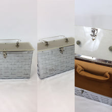 Load image into Gallery viewer, Original 1950's Metal Lattice Work Box Bag - With Lucite Lid and Handle