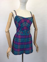 Load image into Gallery viewer, Original 1950s Fabulous Summer Playsuit - In a Gorgeous Plaid With Rich Purple, Reds, Blues and Bottle Greens