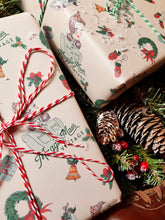 Load image into Gallery viewer, Gift Wrapping Service with Festive Wrapping Paper & Ribbon / Twine - Exclusively Designed By Shropshire Illustrator Hannah Chumbley